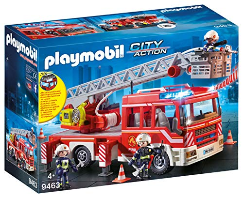 PLAYMOBIL City Action Camión de Bomberos con Escalera, Luces y...