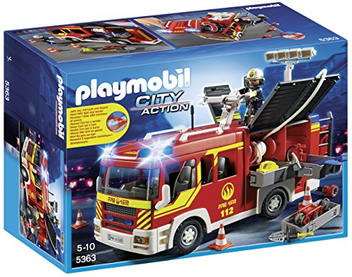 PLAYMOBIL Bomberos- Fire Engine with Lights and Sound Camión...